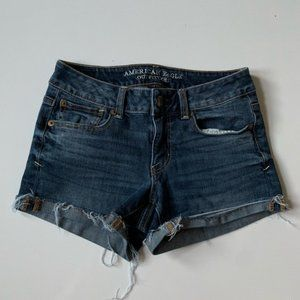 American Eagle Dark Wash Cuffed Shortie Cut Off
